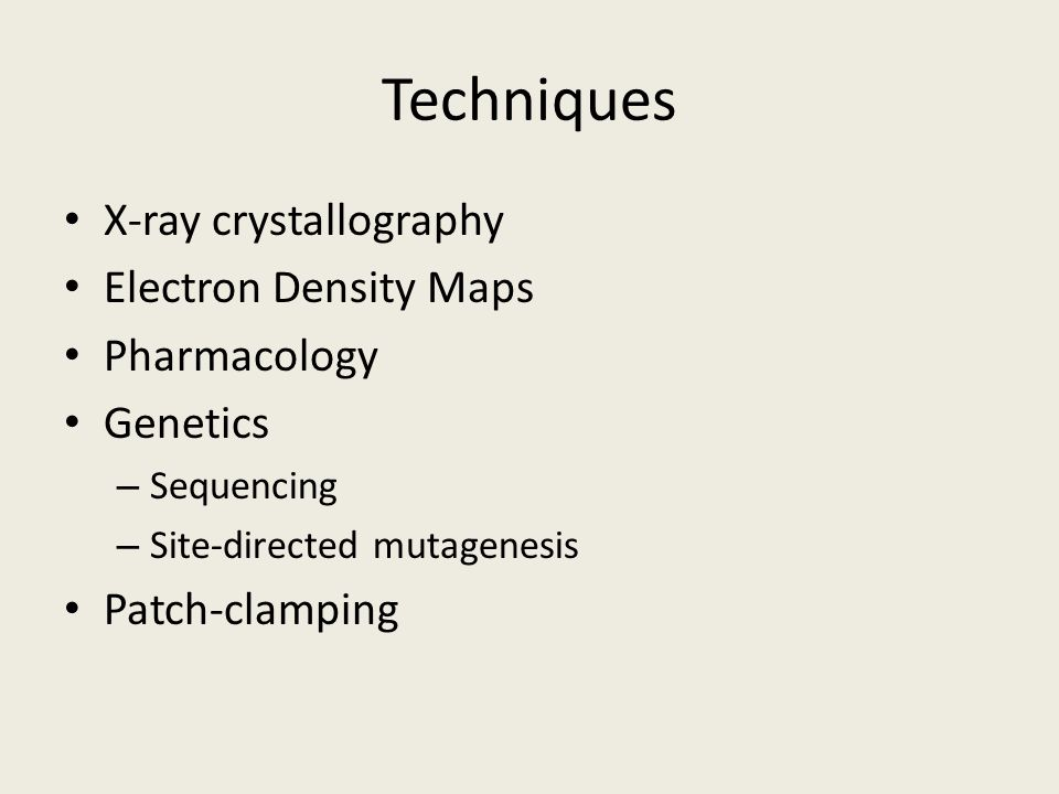 Techniques X-ray crystallography Electron Density Maps Pharmacology Genetics – Sequencing – Site-directed mutagenesis Patch-clamping