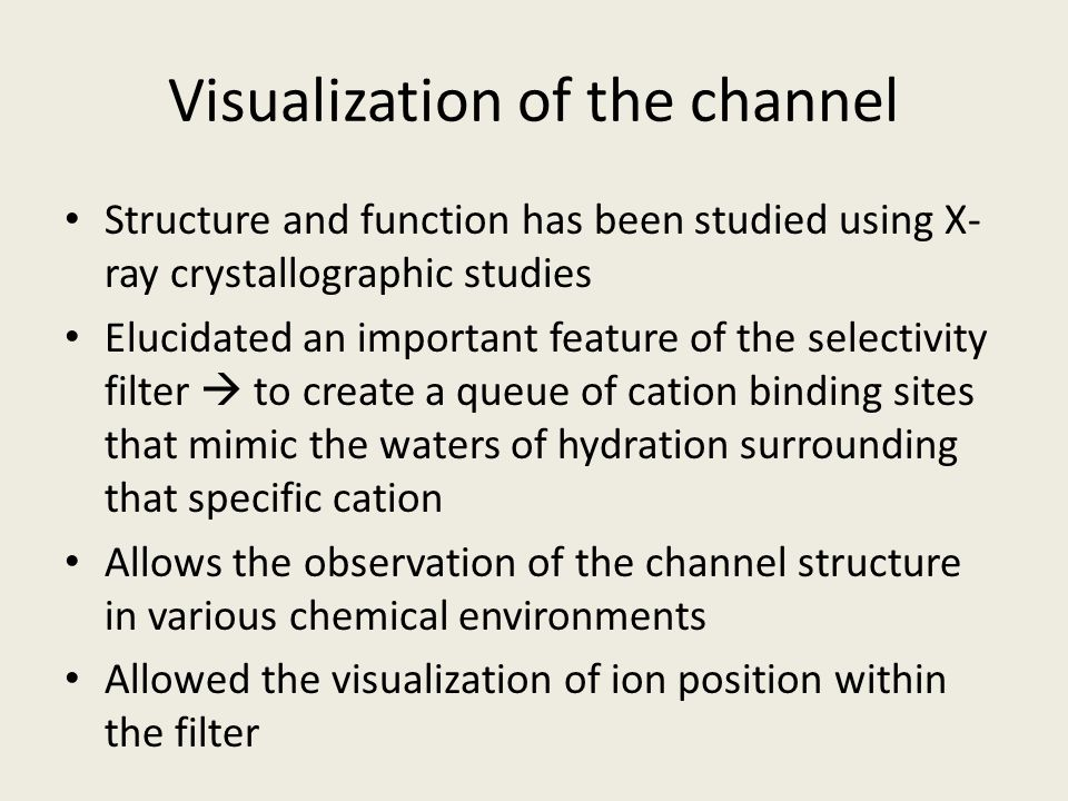 Summary of K + Channel The pore is constructed like an inverted teepee, with the selectivity filter held at its wide end.