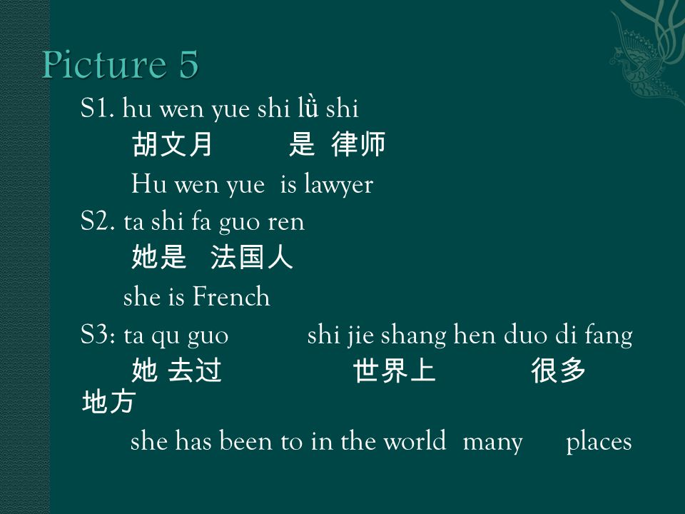 S1. hu wen yue shi l ǜ shi 胡文月 是 律师 Hu wen yue is lawyer S2.