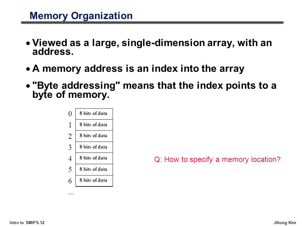Intro to SMIPS.12 Jihong Kim Memory Organization  Viewed as a large, single-dimension array, with an address.  A memory address is an index into the