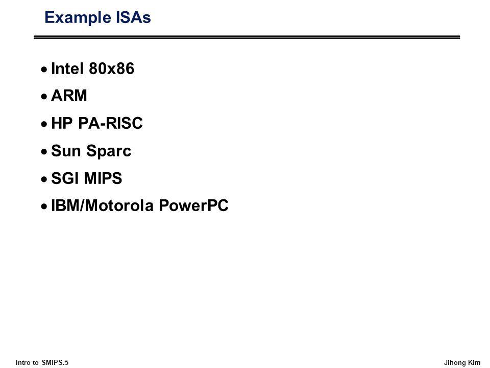 Intro to SMIPS.5 Jihong Kim Example ISAs  Intel 80x86  ARM  HP PA-RISC  Sun Sparc  SGI MIPS  IBM/Motorola PowerPC
