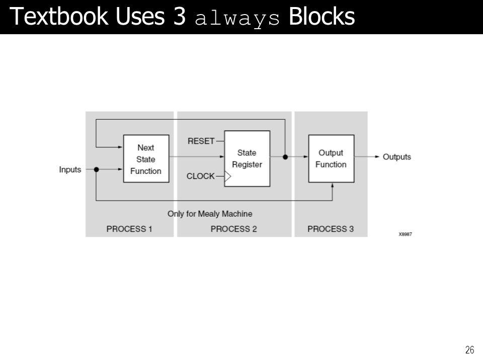 Textbook Uses 3 always Blocks 26