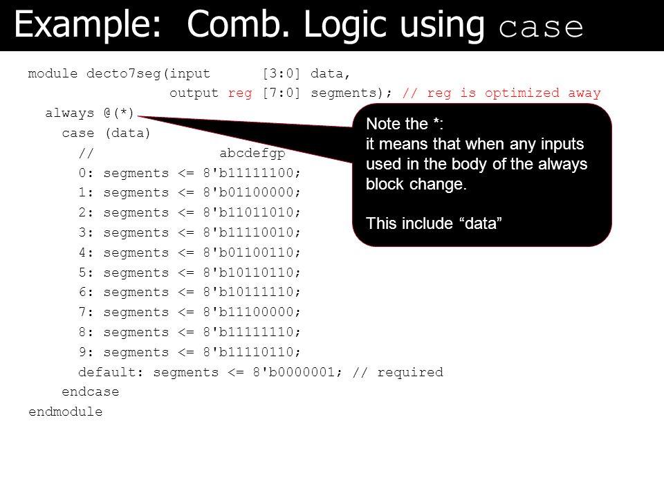Example: Comb. Logic using case module decto7seg(input [3:0] data, output reg [7:0] segments); // reg is optimized away always @(*) case (data) // abc