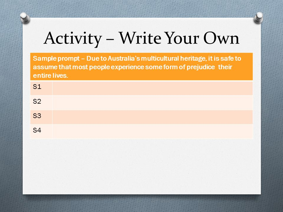 Activity – Write Your Own Sample prompt – Due to Australia's multicultural heritage, it is safe to assume that most people experience some form of prejudice their entire lives.