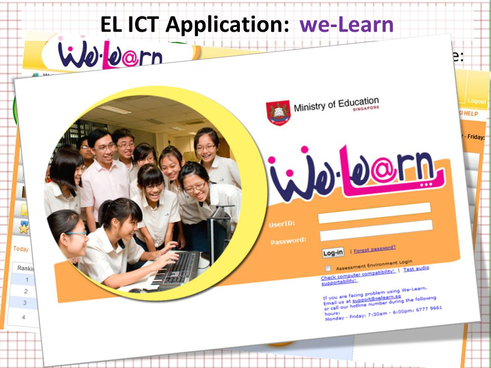 we- Learn we- Speak we- Listen we- Read we- Register we- Quiz Main Target Audience: Pupils in the NT course For teachers to create e-assignments and e-assessments for teaching and assessing specific language skills Colourful and attractive Easy to use Teacher-created resources EL ICT Application: we-Learn