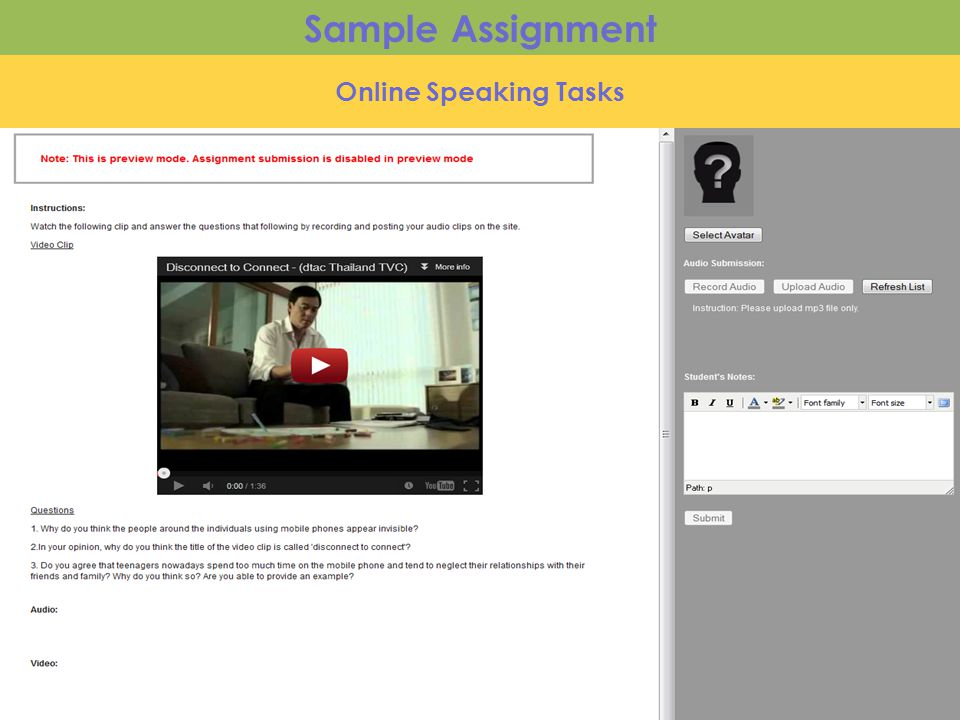 Online Speaking Tasks Sample Assignment