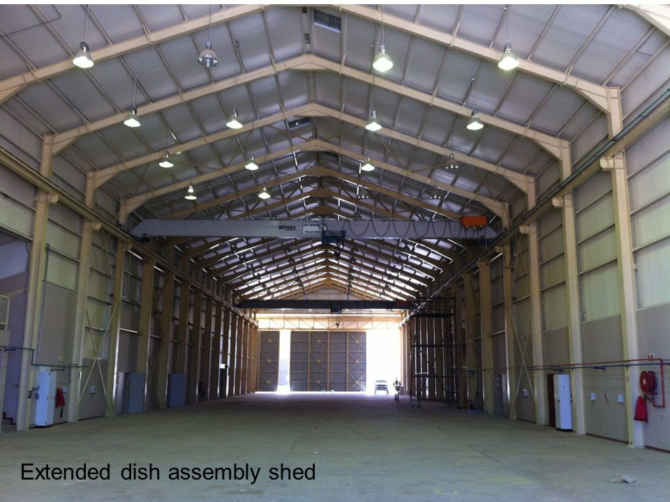Extended dish assembly shed