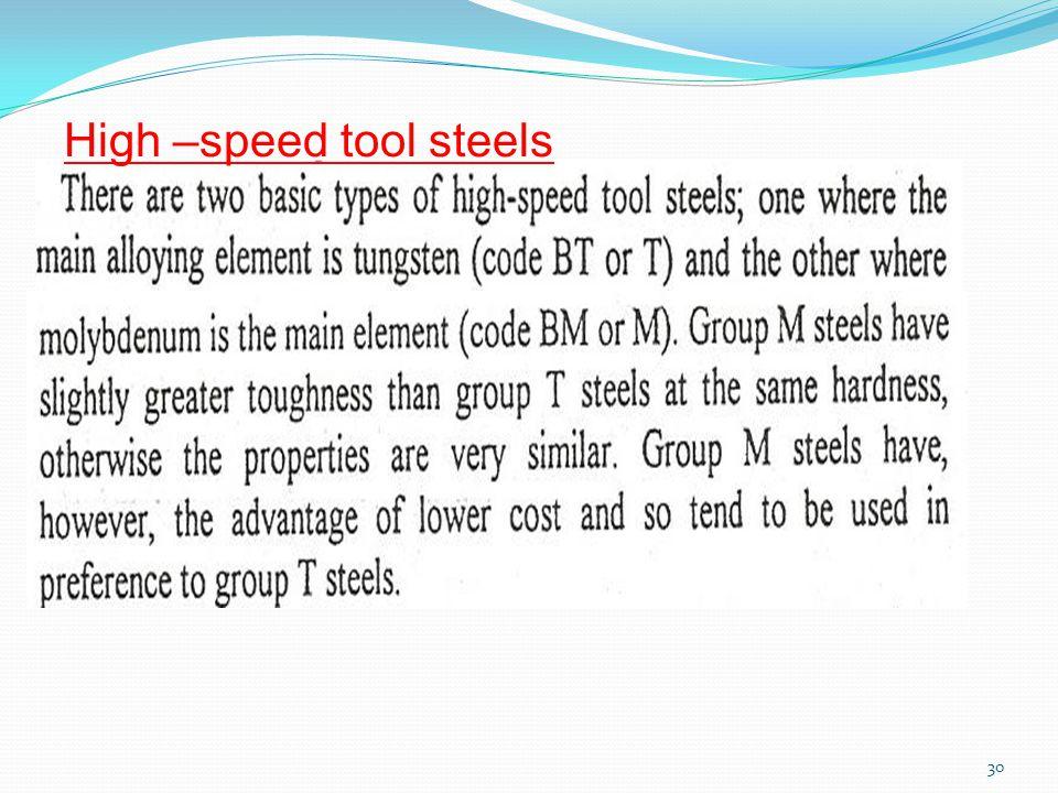 30 High –speed tool steels