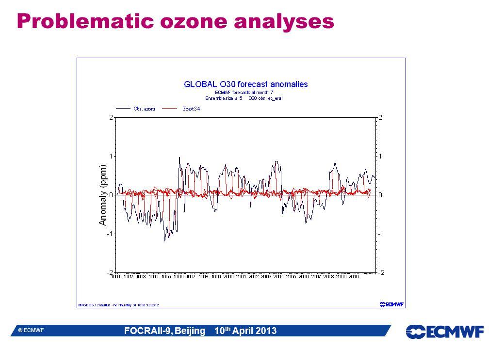 FOCRAII-9, Beijing 10 th April 2013 © ECMWF Problematic ozone analyses