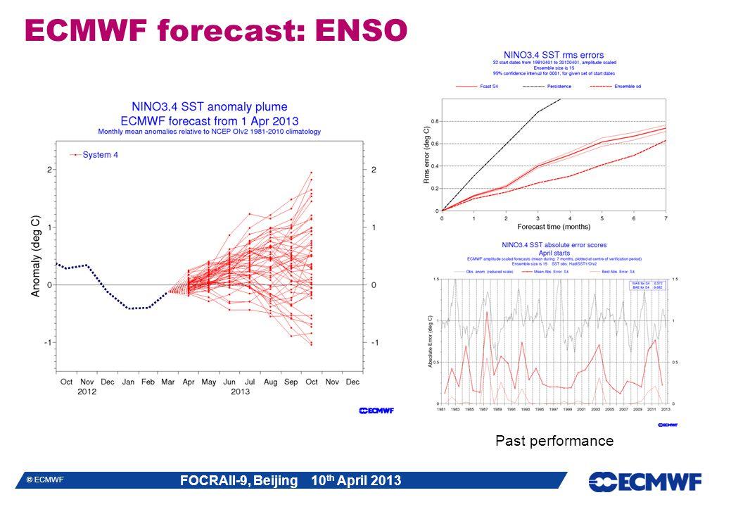 FOCRAII-9, Beijing 10 th April 2013 © ECMWF ECMWF forecast: ENSO Past performance