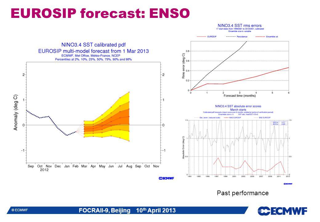 FOCRAII-9, Beijing 10 th April 2013 © ECMWF EUROSIP forecast: ENSO Past performance