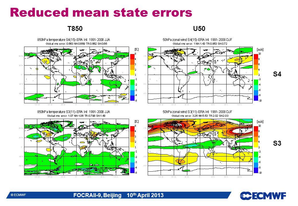 FOCRAII-9, Beijing 10 th April 2013 © ECMWF Reduced mean state errors S4 S3 T850U50