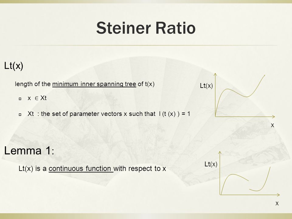 Steiner Ratio Lt(x) length of the minimum inner spanning tree of t(x)  x ∈ Xt  Xt : the set of parameter vectors x such that l (t (x) ) = 1 Lemma 1