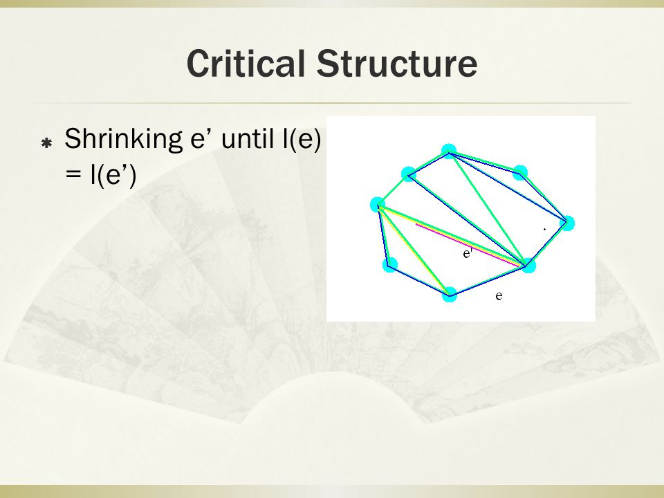 Critical Structure  Shrinking e' until l(e) = l(e')