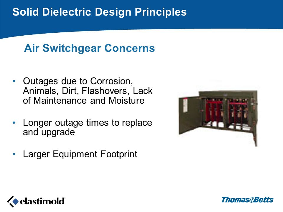 Air Switchgear Concerns Outages due to Corrosion, Animals, Dirt, Flashovers, Lack of Maintenance and Moisture Longer outage times to replace and upgrade Larger Equipment Footprint Solid Dielectric Design Principles