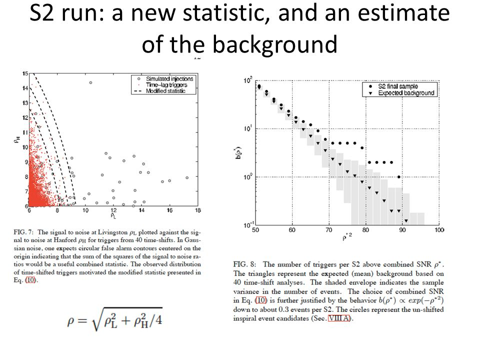 S2 run: a new statistic, and an estimate of the background