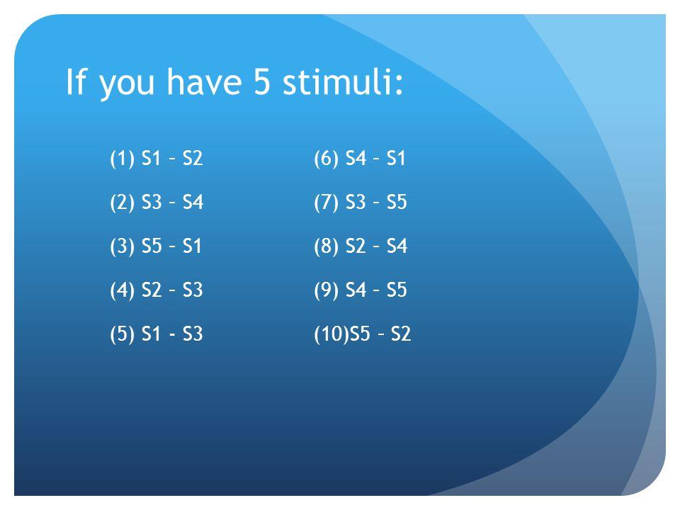 If you have 5 stimuli: (1) S1 – S2(6) S4 – S1 (2) S3 – S4(7) S3 – S5 (3) S5 – S1(8) S2 – S4 (4) S2 – S3(9) S4 – S5 (5) S1 - S3(10)S5 – S2
