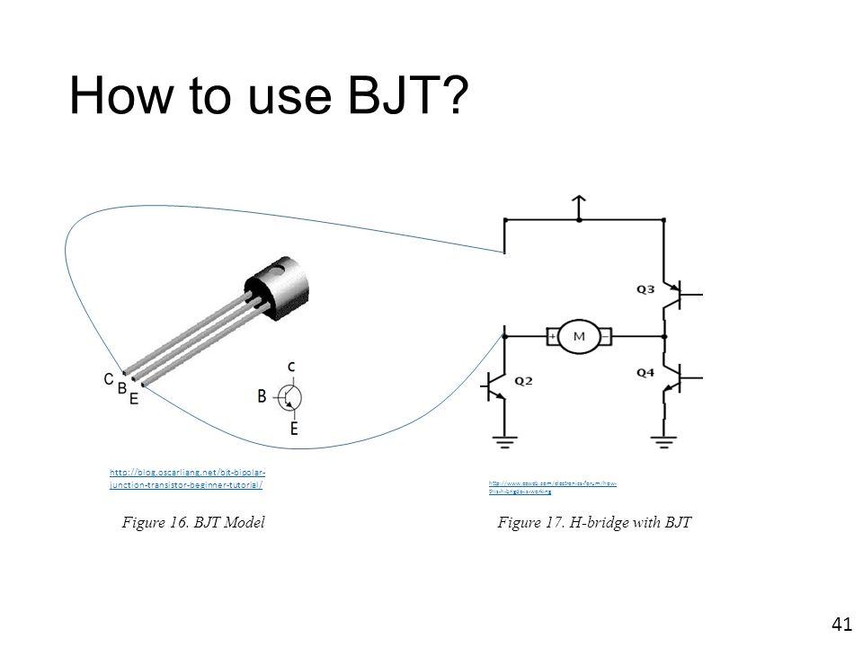How to use BJT? http://blog.oscarliang.net/bjt-bipolar- junction-transistor-beginner-tutorial/ Figure 16. BJT Model http://www.eeweb.com/electronics-f
