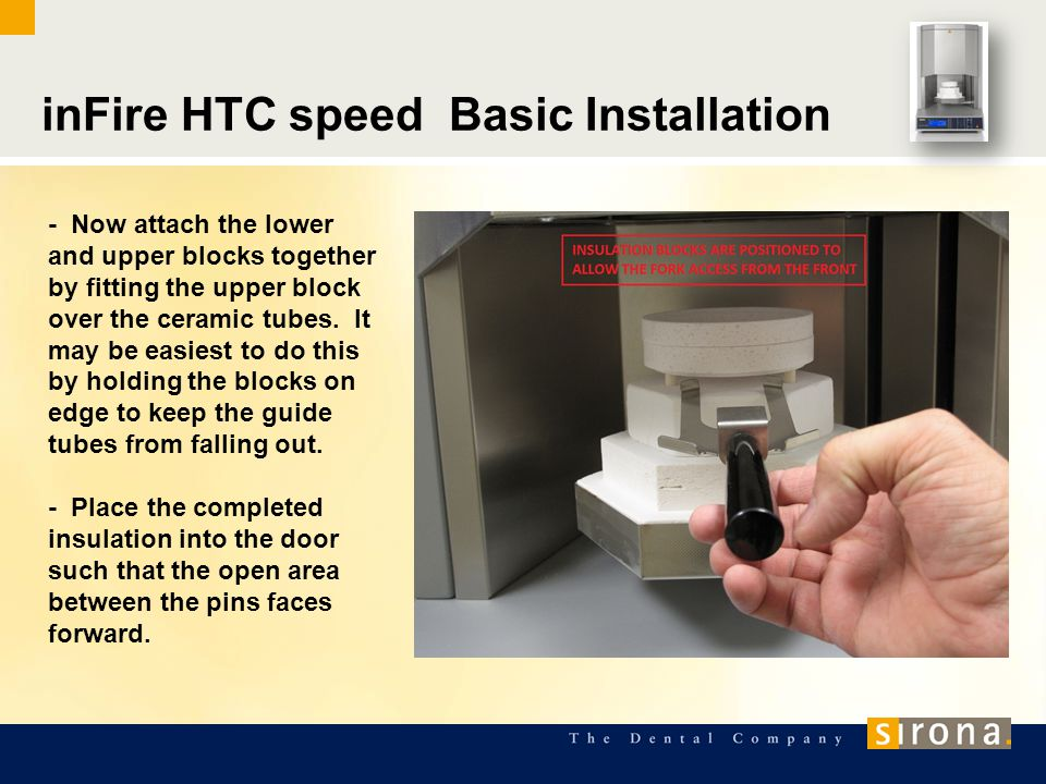inFire HTC speed Basic Installation - Now attach the lower and upper blocks together by fitting the upper block over the ceramic tubes.