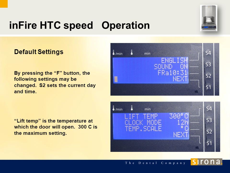inFire HTC speed Operation Default Settings By pressing the F button, the following settings may be changed.