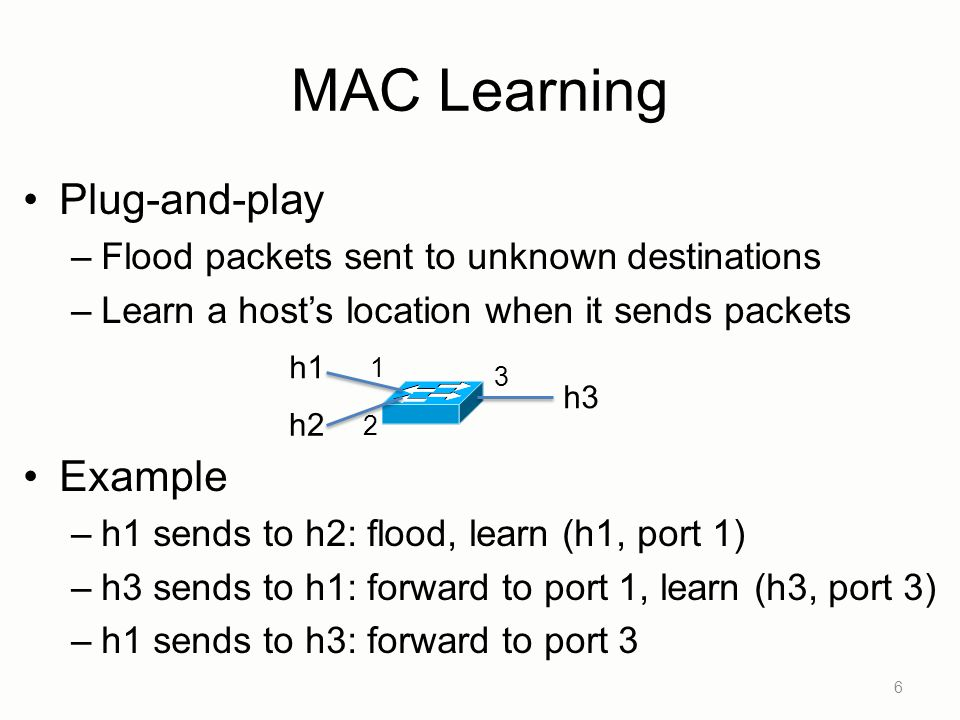 MAC Learning Plug-and-play –Flood packets sent to unknown destinations –Learn a host's location when it sends packets Example –h1 sends to h2: flood, learn (h1, port 1) –h3 sends to h1: forward to port 1, learn (h3, port 3) –h1 sends to h3: forward to port 3 6 h1 h2 h3 1 2 3