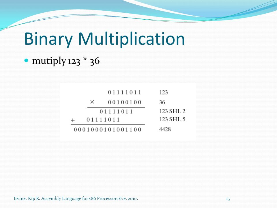 Irvine, Kip R. Assembly Language for x86 Processors 6/e, 2010. 15 Binary Multiplication mutiply 123 * 36