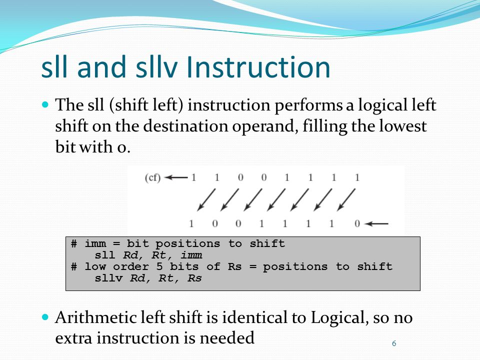 sll and sllv Instruction The sll (shift left) instruction performs a logical left shift on the destination operand, filling the lowest bit with 0. Ari