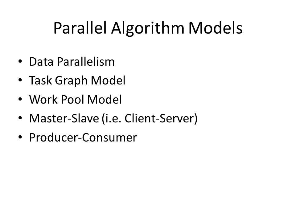 Parallel Algorithm Models Data Parallelism Task Graph Model Work Pool Model Master-Slave (i.e.