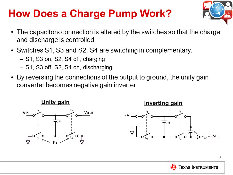 How Does a Charge Pump Work? The capacitors connection is altered by the switches so that the charge and discharge is controlled Switches S1, S3 and S