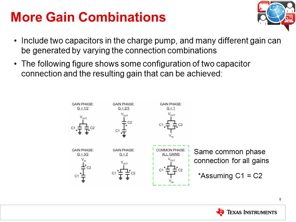 More Gain Combinations Include two capacitors in the charge pump, and many different gain can be generated by varying the connection combinations The