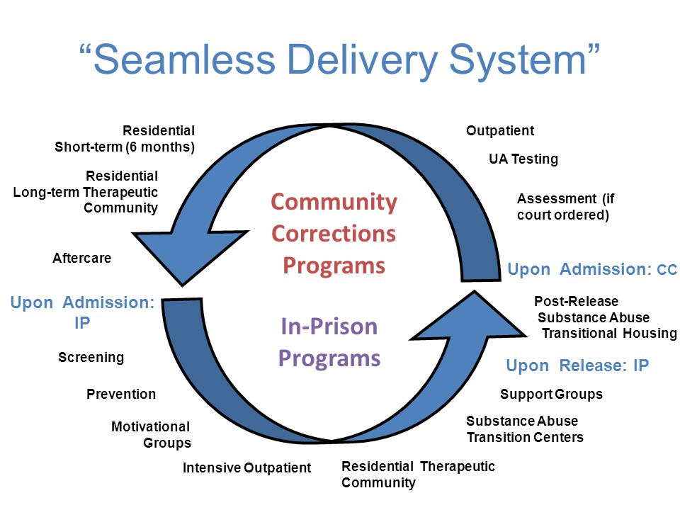 """Seamless Delivery System"" Community Corrections Programs In-Prison Programs Residential Short-term (6 months) Residential Long-term Therapeutic Commu"