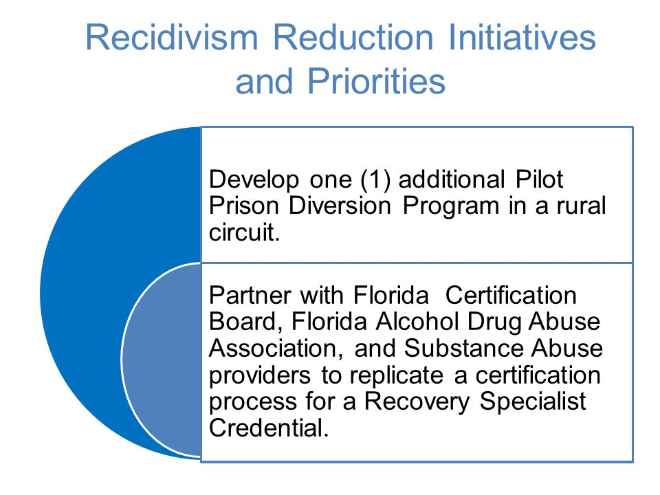 Recidivism Reduction Initiatives and Priorities Develop one (1) additional Pilot Prison Diversion Program in a rural circuit. Partner with Florida Cer