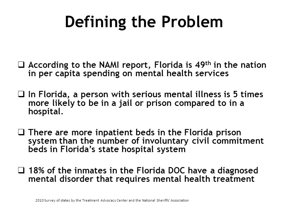 Defining the Problem  According to the NAMI report, Florida is 49 th in the nation in per capita spending on mental health services  In Florida, a p