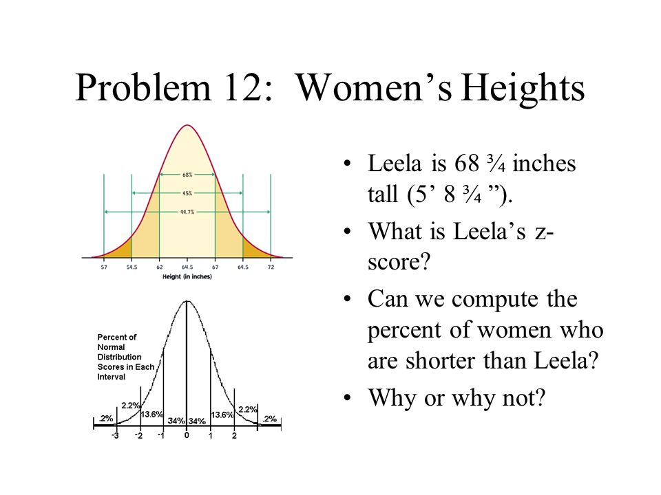 Problem 12: Women's Heights Barbie is 69.5 inches tall (5' 9.5 ).