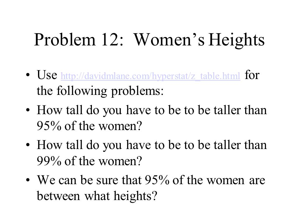 Problem 12: Women's Heights How tall do you have to be to be taller than 50% of the women.