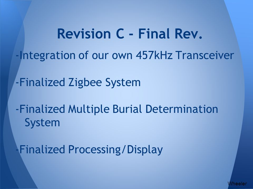 -Integration of our own 457kHz Transceiver -Finalized Zigbee System -Finalized Multiple Burial Determination System -Finalized Processing/Display Revi