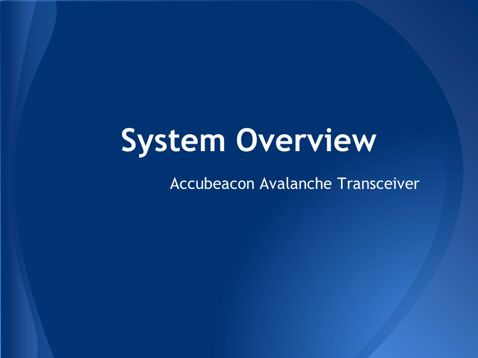 Accubeacon Avalanche Transceiver System Overview