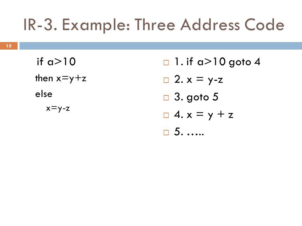 IR-3. Example: Three Address Code if a>10 then x=y+z else x=y-z  1.