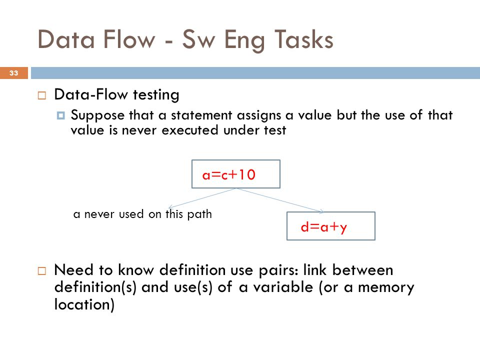 Data Flow - Sw Eng Tasks  Data-Flow testing  Suppose that a statement assigns a value but the use of that value is never executed under test a never used on this path  Need to know definition use pairs: link between definition(s) and use(s) of a variable (or a memory location) a=c+10 =a d=a+y =a 33
