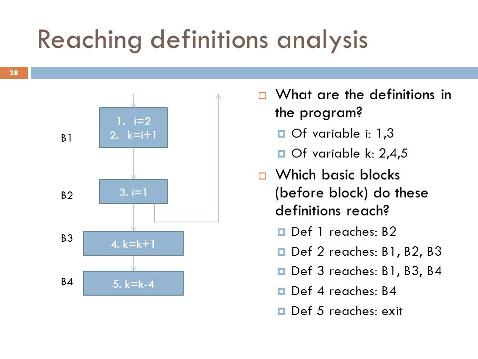 Reaching definitions analysis  What are the definitions in the program.