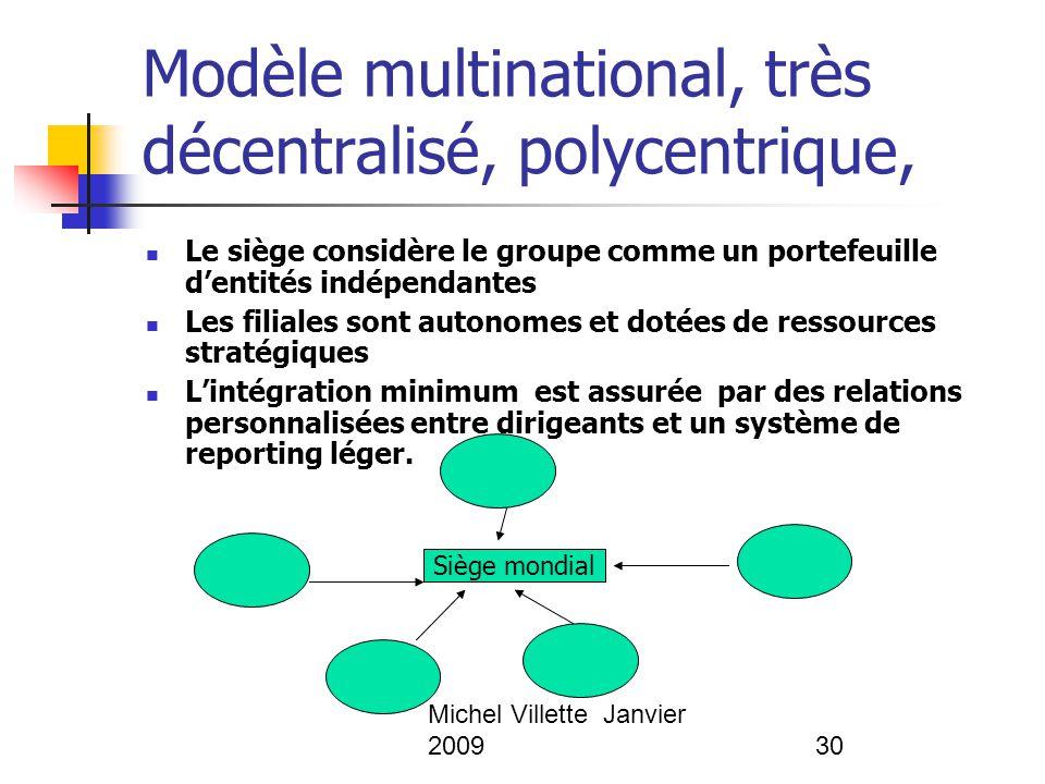 Michel Villette Janvier 200930 Modèle multinational, très décentralisé, polycentrique, Le siège considère le groupe comme un portefeuille d'entités in