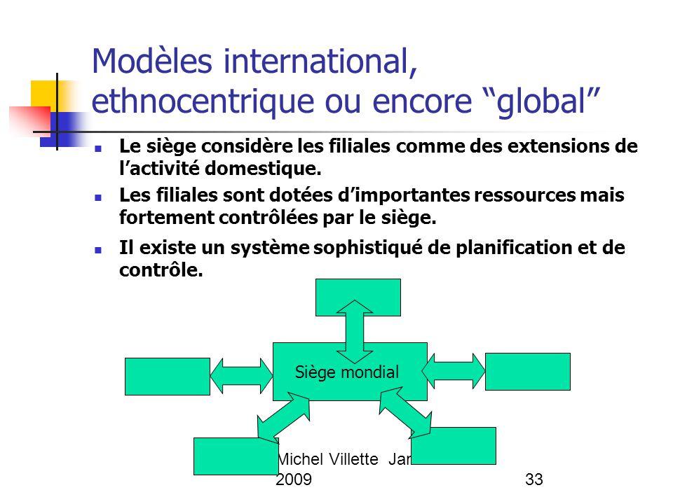 """Michel Villette Janvier 200933 Modèles international, ethnocentrique ou encore """"global"""" Le siège considère les filiales comme des extensions de l'acti"""