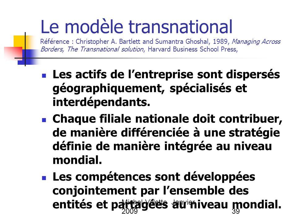 Michel Villette Janvier 200939 Le modèle transnational Référence : Christopher A. Bartlett and Sumantra Ghoshal, 1989, Managing Across Borders, The Tr