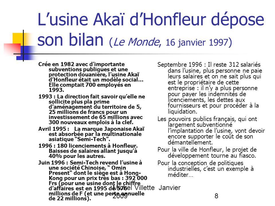 Michel Villette Janvier 20098 L'usine Akaï d'Honfleur dépose son bilan (Le Monde, 16 janvier 1997 ) Crée en 1982 avec d'importante subventions publiqu