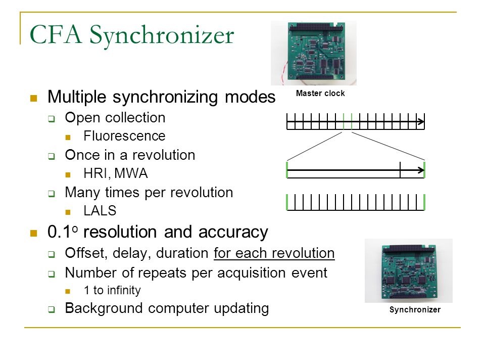 Multiple synchronizing modes  Open collection Fluorescence  Once in a revolution HRI, MWA  Many times per revolution LALS 0.1 o resolution and accuracy  Offset, delay, duration for each revolution  Number of repeats per acquisition event 1 to infinity  Background computer updating CFA Synchronizer Synchronizer Master clock