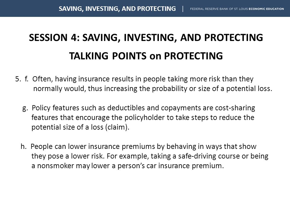 Session 4 Saving Investing And Protecting Talking Points On