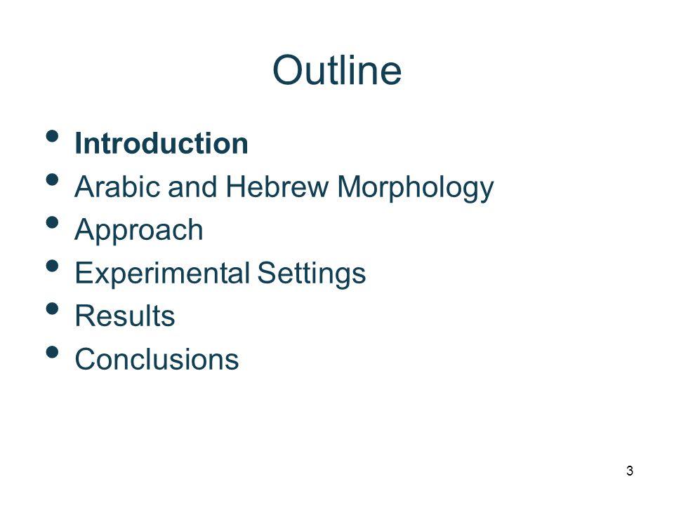 Arabic Preprocessing Schemes STSimple Tokenization D1Decliticize conjunctions: w+/f+ D2D1 + Decliticize particles: b+/l+/k+/s+ D3D2 + Decliticize article Al+ and pron'l clitics BWMorphological stem and affixes END3, Lemmatize, English-like POS tags, Subj ONOrthographic Normalization WAwa+ decliticization TBArabic Treebank L1Lemmatize, Arabic POS tags L2Lemmatize, English-like POS tags Input:wsyktbhA.