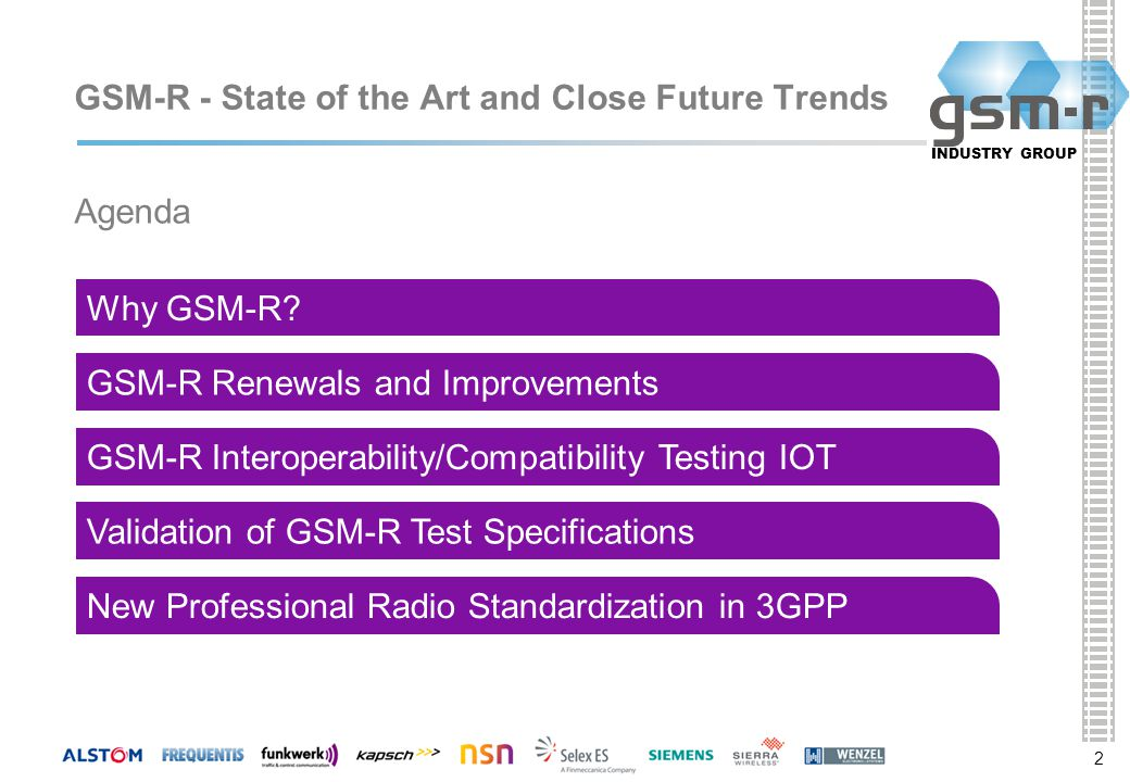2 INDUSTRY GROUP 2 GSM-R - State of the Art and Close Future Trends 2 Why GSM-R.