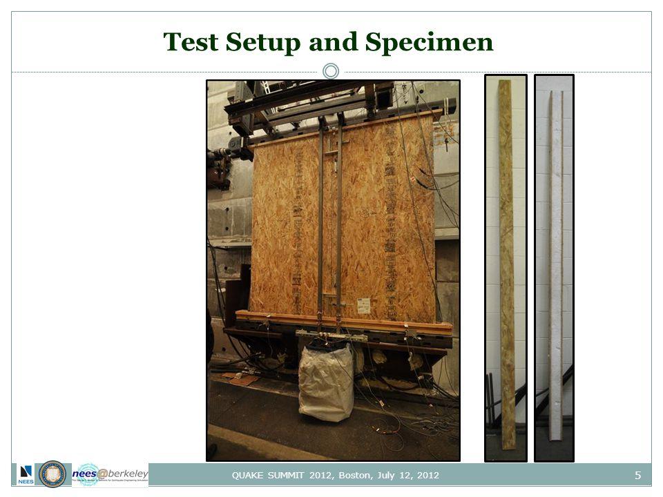5 QUAKE SUMMIT 2012, Boston, July 12, 2012 Test Setup and Specimen
