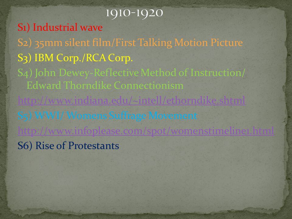 S1) Industrial wave S2) 35mm silent film/First Talking Motion Picture S3) IBM Corp./RCA Corp.